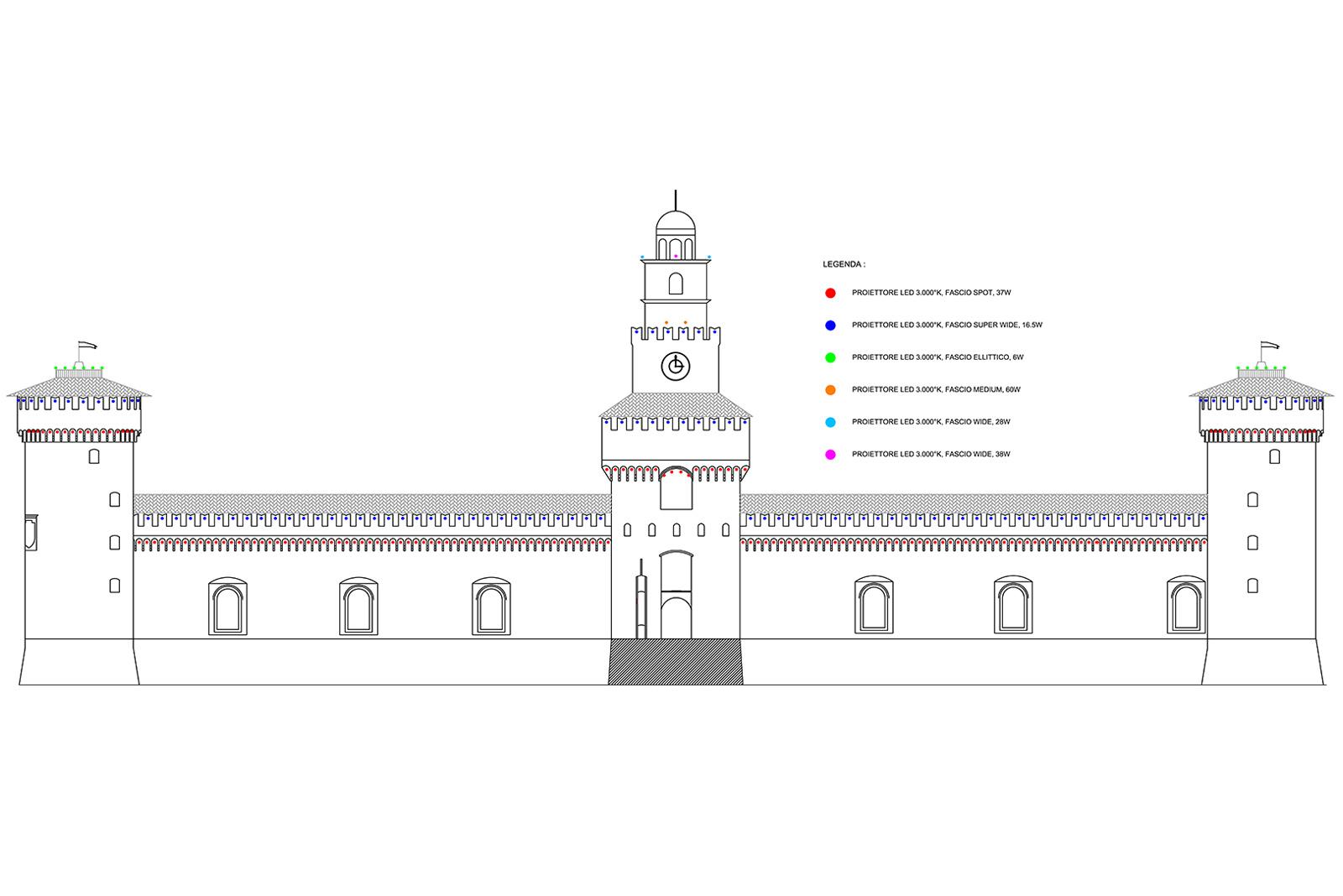 La tavola del progetto di illuminazione del Castello Sforzesco